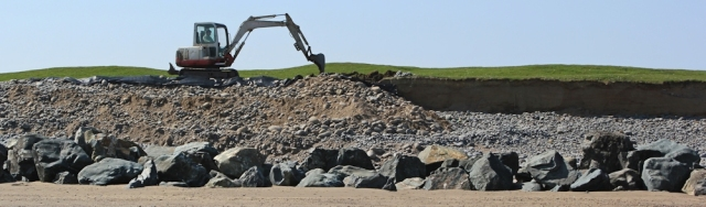 Digging shore defences,Northam Burrows, Ruth's coastal walk, North Devon