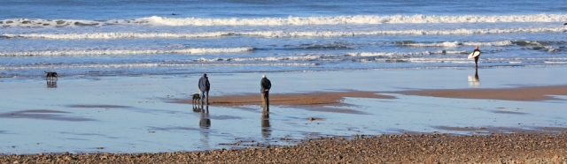 11 old and young on Crooklets Beach, Bude, Ruth walking the SW Coast Path