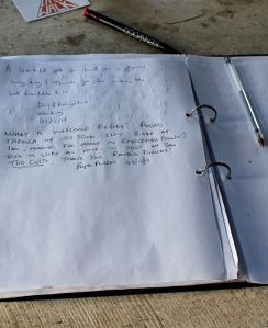 visitor book, Ronald's house, SWCP, Marsland Mouth, Ruth Livingstone