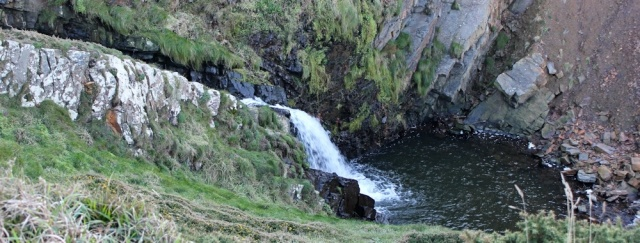 14 waterfall, Upright Cliff, Ruth walking in Hartland, N Devon