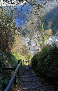 Down to Clovelly, Ruth walking the SWCP