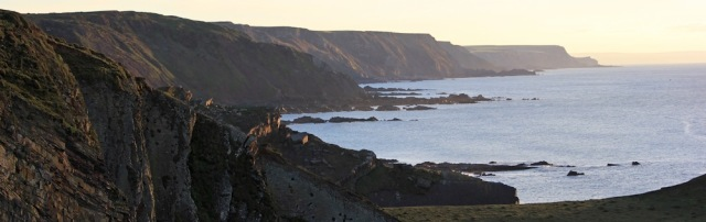 30 Looking back to Bude, Ruth Livingstone at Hartland Quay