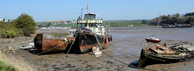 rusting boats, River Torridge, near Bideford, Ruth's coast walking