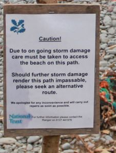 warning notice, Babbacombe Mouth, Ruth's coastal walk towards Westward Ho!
