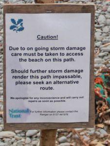 warning notice, Babbacombe Mouth, Ruth's coastal walk towards Westward Ho!