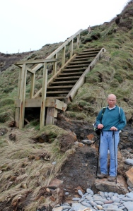 long jump up steps, coatal erosion, Ruth in North Devon SWCP