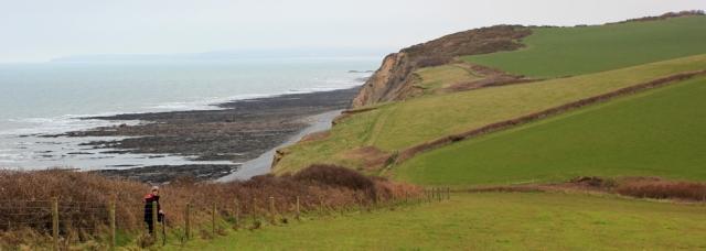 heading to Green Cliff, Ruth walking towards Westward Ho! SWCP