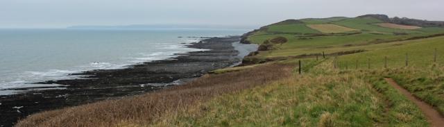 on Green Cliff, looking ahead to Saunton Sands, Ruth's coastal walk, SWCP