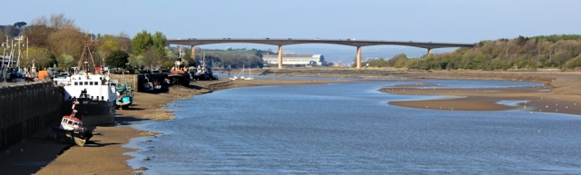 looking down Torridge River, from Bideford, Ruth walking the coast