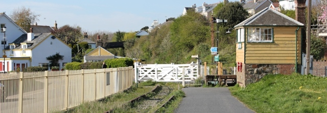 Instow railway crossing, Ruth on the Tarka Trail