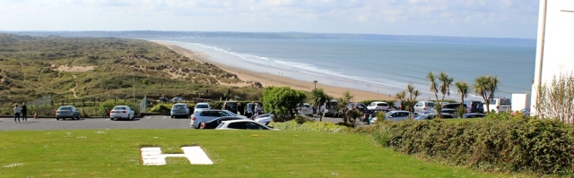 hotel car park and view of Braunton Burrows, Ruth's coast walk