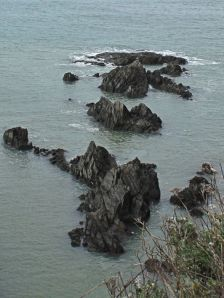 rocks below memorial, Ruth walks the coast, Woolacombe, Devon