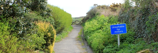 road unsuitable for motors, Ruth on her coastal walk, Lee Bay to Ilfracombe