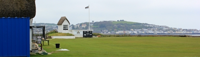 cricket pitch, Instow, Ruth on her coastal walk around the UK