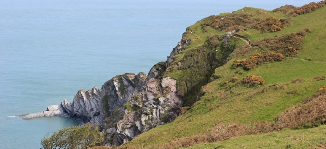 South West Coast Path, Breakneck Point, Ruth on the Tarka Trail near Ilfracombe