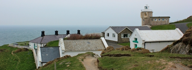 Bull Point light house, Ruth walking the South West Coast Path, North Devon