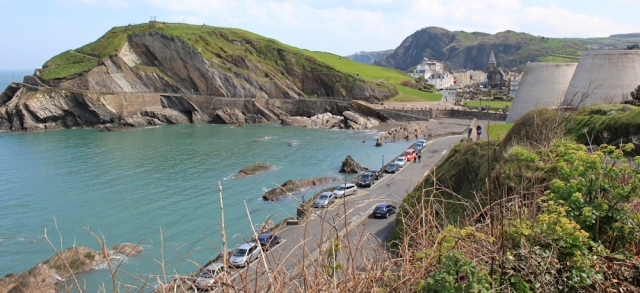 Coming down to Ilfracombe, Ruth on her coastal trek, north Devon