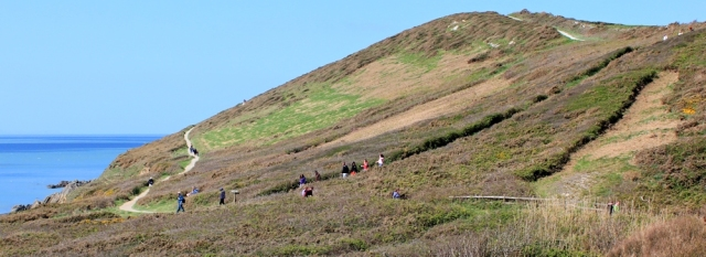 crowds on paths to Baggy Point, Ruth's coastal walk