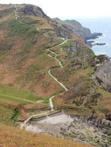 Descent down to Damagehue, Ruth on SWCP, Devon