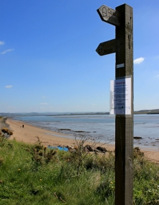 signpost, looking down estuary, Ruth's coast walk, Devon