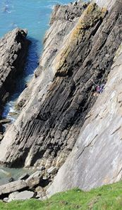 climbers, Long Rock, Ruth's coastal walk, North Devon