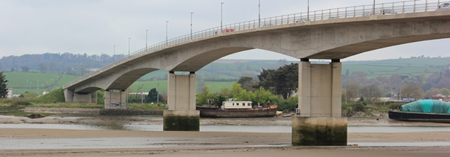 under the A361 bridge, Ruth walking the coast to Barnstaple