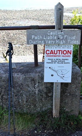 warning signs, Porlock Weir, South West Coast Path