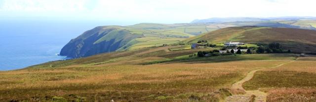 down off Holdstone Hill, Ruth walking the coast, North Devon