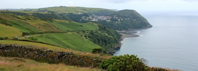 view down to Lynmouth, Ruth on Countisbury Hill, SWCP