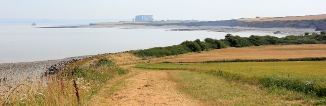 Hinkley Point Power Station, Ruth on her coastal walk on West Somerset Coastal Path