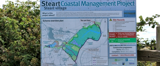 Steart coastal management project, Ruth's walk along the Parrett Trail