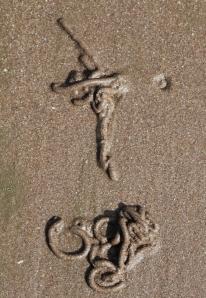 lugworm crucifix, Ruth walking the shore in Minehead