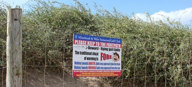 golf ball warning, Ruth's coastal walk, Minehead