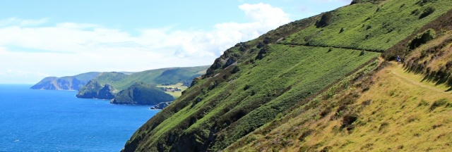 Ruth walking towards Woody Bay, Heddon's Mouth, Devon