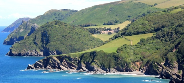 lunchtime view over Woody Bay, Ruth walking the coast, North Devon