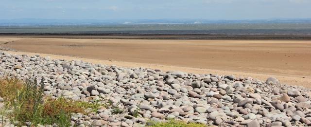 Dunster Beach, empty sand, Ruth on Somerset Coast Path