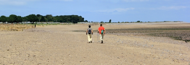 walkers on Dunster Beach, Ruth on North Somerset coast path