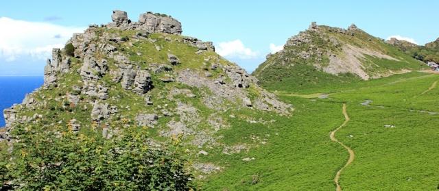 Valley of Rocks, Ruth walking in North Devon, Lynton
