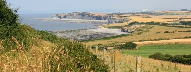 Hinkley Point from Quantock's Head, Ruth walking the Somerset Coast Path