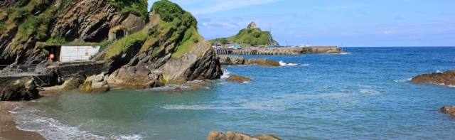 Rapparee Cove, Ruth walking the coast, near Ilfracombe