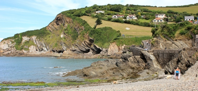 beach at Combe Martin, Ruth walking the coast of north Devon