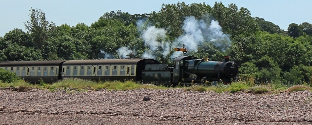 steam train comes past, Blue Anchor Bay, Ruth Livingstone