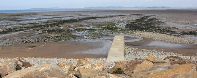 looking over Bridgwater Bay, Ruth on West Somerset Coast Path, Hinkley Point