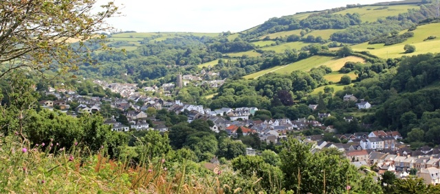 view over Combe Martin, Ruth walking the SWCP, Devon