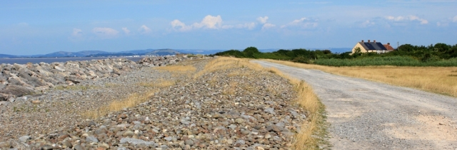 walking towards Stolford, Ruth on the West Somerset Coast Path, Hinkley Point