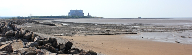 looking back at Hinkley Point, Ruth walking the Somerset coast