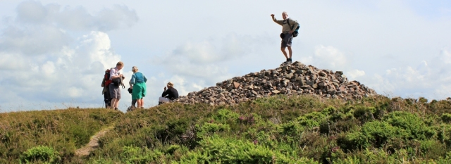 other hikers, top of Hangman, Ruth walking on the SWCP, Devon