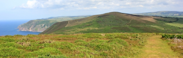 looking ahead to Holdstone Hill, Ruth's coastal walking, North Devon