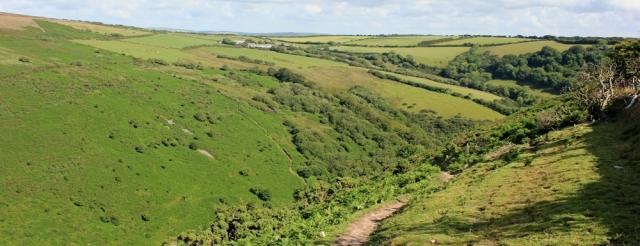Sherrycombe ahead, Ruth walking near Combe Martin, Devon, SWCP