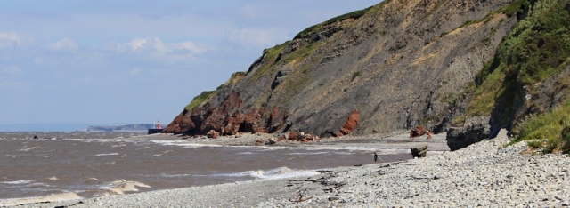 Warren Bay, on way to Watchet, Ruth walking the Somerset coast